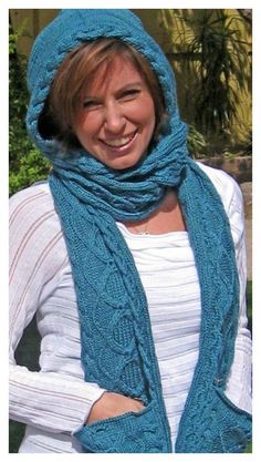 Hooded Scarf with Pocket Free Knitting Pattern