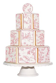Octagonal wedding cake with toile cookies from Baked Ideas