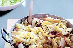 Tagliatelle met asperges en spekjes - Recept - Allerhande Pasta Salad, Macaroni And Cheese, Ethnic Recipes, Drinks, Food, Recipes, Friday, Tagliatelle, Asparagus