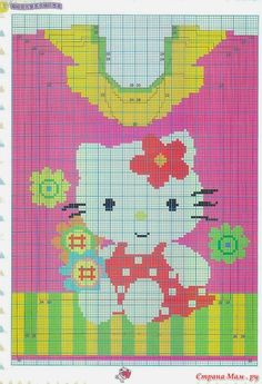 Hello Kitty intarsia sweater pattern