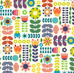 Modern Folk Embroidery Folk Art Flowers Fabric - Swedish Folk Art Colorful By Enariyoshi - Floral Scandinavian Modern Cotton Fabric By The Yard With Spoonflower - Pattern Art, Print Patterns, Pattern Design, Surface Pattern, Design Design, Folk Art Flowers, Flower Art, Simple Flower Painting, Scandinavian Folk Art