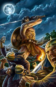 3/16/14  1:35p    Conan:  The Hunter  In  the Cloudy Night Sky  and Full Moon arcosart.deviantart.com
