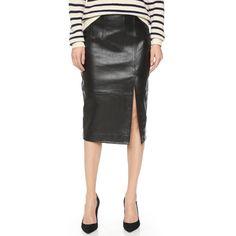Ganni Moss Leather Skirt (1,535 ILS) ❤ liked on Polyvore featuring skirts, black, slit skirt, leather skirt, pencil skirt, black knee length skirt and leather pencil skirt
