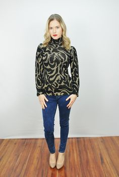 Vtg 80s 90s Black and Metallic Gold Skinny Knit Abstract Sweater Shirt Top S | eBay