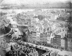 Een hele oude en bijzondere foto: Rotterdam 1861. Nog geen Witte Huis en geen Maasbruggen, enz.... Na de 2e W.O. was er helemaal niets meer van over.