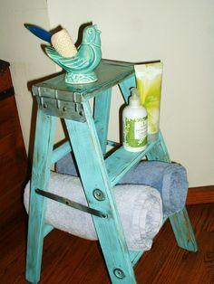 Vintage Wood Step Ladder Stool Upcycled For Home Decor Shabby Chic Turquoise
