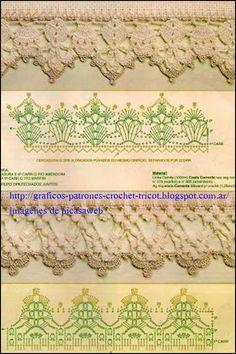 PATRONES - CROCHET - GANCHILLO - GRAFICOS: PUNTILLAS TEJIDAS A GANCHILLO CON SU PATRONES