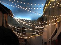 Engagement Party - left or right side of backyard   {How-To} String Lights Zigzagging Overhead | Apartment Therapy