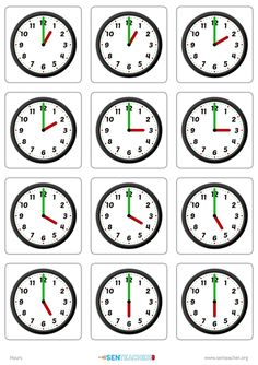 Create clock face matching cards with various times Clock Worksheets, Printable Worksheets, Printable Cards, Printables, Learn To Tell Time, Matching Cards, Arithmetic, Telling Time