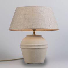 Lámpara de mesa ARTA XS concrete con pantalla 35cm lino natural #decoracion #iluminacion #interiorismo
