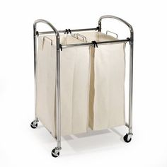 Seville Classics Mobile Double Bag Compact Laundry Hamper Sorter Cart Chrome *** Click picture to evaluate even more details. (This is an affiliate link).