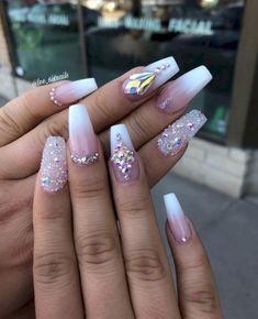 French my nails in 2019 nails wedding nails french nails Bling Nail Art, Rhinestone Nails, Bling Nails, Swarovski Nails, Rhinestone Nail Designs, Nail Crystal Designs, Bling Acrylic Nails, Classy Acrylic Nails, Classy Nails