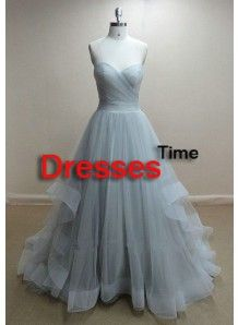 Stunning A-line Sweetheart Sleeveless Backless Tulle Long Prom Dresses TUPD-70346