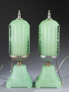 Lot 205: Pair of Art Deco Glass Boudoir Lamps c. 1920. Estimate: $200-$300.