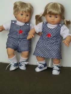 Blue and white checked outfits with star  trim fit Bitty Twins by SewQT on Etsy, $30.00