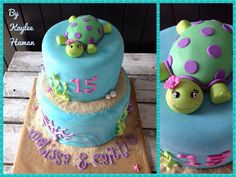 Two tier under the sea birthday cake with gorgeous tortoise cake topper. Made with love by Kaylee Haman