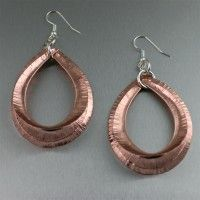 Fold Formed Copper Tear Drop Hoop Earrings. Add some glam to any of your favorite outfits!   http://www.johnsbrana.com/fold-formed-copper-tear-drop-hoop-earrings.html  $145.00