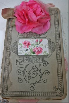 Instructions for a beautiful vintage ledger makeover. Want to use my Daddy's old ledger Ithat I have kept. Lovely...I think covers could be stamped to look like this.