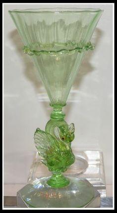 Unusual Antique Green Swan Form Venetian Glass Wine Stem