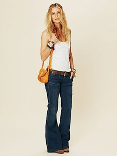 Jerry Fit Relaxed Flare from Free People Cute Summer Outfits, Cute Outfits, Free Clothes, Clothes For Women, Mom Clothes, Denim Shop, Love Fashion, What To Wear, Style Me