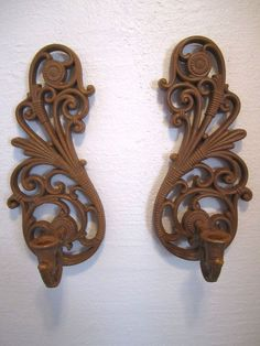 Pair Vintage Tropical Wall Sconces Regency Bamboo Look Syroco Candle Holder #Regency
