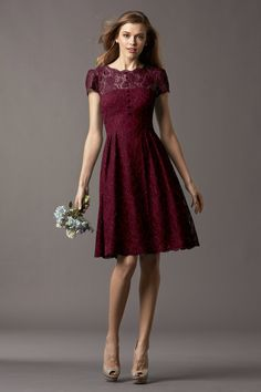 Watters Maids Dress Ash lace wine lining garnet