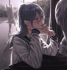 Sad Anime Girl, Manga Anime Girl, Kawaii Anime Girl, Manga Art, Anime Guys, Titans Anime, Dibujos Cute, Gothic Anime, Estilo Anime