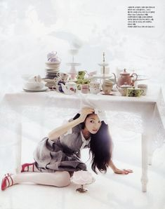 Vogue Girl Korea March fashion editorial of Alice in Wonderland. A gorgeous cake filled fantasy of whimsical beauty! Alice Tea Party, Girl Korea, Mad Hatter Tea, Mad Hatters, Adventures In Wonderland, Jolie Photo, Marie Antoinette, Party Fashion, Editorial Fashion