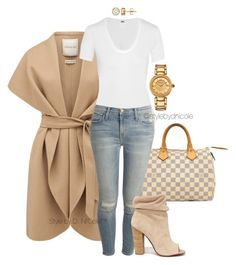 """Untitled #3226"" by stylebydnicole ❤ liked on Polyvore featuring Forever New, Louis Vuitton, Helmut Lang, Current/Elliott, Kristin Cavallari and Versace"