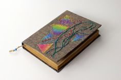 Embroidery Journal diary notebook old paper batik fabric by Patiak