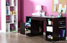 Office Desk Seat Combo Dark Computer Table w Modern Pink Chair Bundle Two Items | eBay