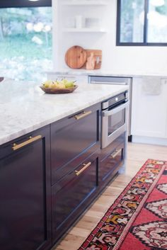 Semihandmade DIY Shaker Ikea Kitchen courtesy of Jennifer Stagg and… Kitchen Wall Shelves, Ikea Kitchen Cabinets, Diy Kitchen Island, Kitchen Rug, Kitchen Countertops, New Kitchen, Kitchen Decor, Black Ikea Kitchen, Ikea Kitchen Drawers