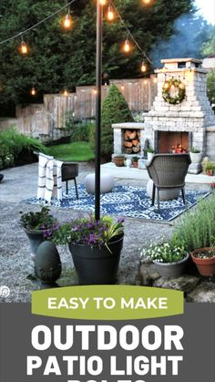 Patio Diy, Backyard Patio, Backyard Projects, Outdoor Projects, Poles For Outdoor Lights, Patio Lighting, Outdoor Furniture Sets, Outdoor Decor, Diy Planters