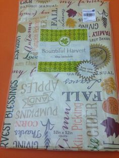Vinyl Tablecloth Autumn Thanksgiving Words Flannel Backing 52 X 52 Inch New  02