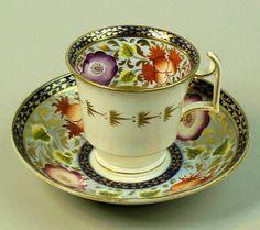ANTIQUE SPODE PORCELAIN CABINET CUP & SAUCER C.1825