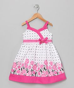 Take a look at this Pink Polka Dot Floral Surplice Dress - Infant, Toddler & Girls by Longstreet on today! Cute Little Girls Outfits, Little Girl Dresses, Kids Outfits, Girls Dresses, Frocks For Girls, Kids Frocks, Baby Dress Design, Frock Design, Vip Dress