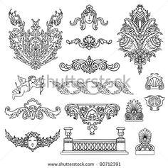 antique and baroque ornaments vector set by shooarts, via ShutterStock