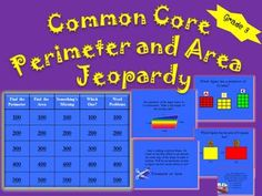 Classroom Trivia Fun and Games! Perimeter and Area with Common Core education area math games, life in third grade, 3rd grade fun