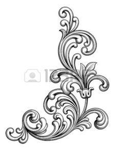 tatouage fleur: Vintage baroque cadre victorien monogramme frontière feuille floral ornement parchemin retriver fleur gravé design décoratif tatouage filigranes vecteur noir et blanc calligraphique blason swirl Illustration