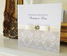 ivory pearl damask vintage wedding invitation  www.els-design.com