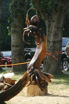 2012 World Class Chainsaw Carving Competition. www.HopeBC.ca. Photo Courtesy of the Hope & District Chamber of Commerce Chainsaw Carvings, Wood Carvings, Snow Art, Tree Carving, Beavers, Garden Trees, Woody, Art Forms, Competition
