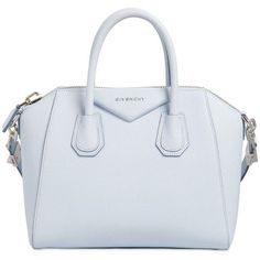 GIVENCHY Small Antigona Grained Leather Bag ($2,280) ❤ liked on Polyvore featuring bags, handbags, light blue, blue handbags, full grain leather purse, givenchy bags, light blue bag and light blue handbag