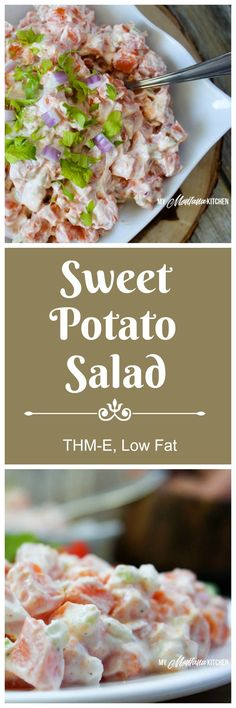 Sweet Potato Salad ~Peel & dice 3 lbs sweet potatoes. Boil about 10 minutes, or until tender; drain.  Add 2 cups plain Greek yogurt, 1 tsp apple cider vinegar, 1½ - 2 tsp salt, ½ tsp black pepper, 2 Tbsp your favorite sweetener, ½ cup diced celery, ⅓ cup diced purple onion, &  sprinkle of thyme (opt.) Mix well & refrigerate 2 hrs before serving.