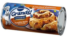 If you thought it was nearly impossible to resist the gooey center of a Cinnabon-style cinnamon roll, Pillsbury's out to test your willpower: This version one-ups the original with pumpkin spice-flecked rolls and icing. Pillsbury Cinnamon Rolls, Cinnabon Cinnamon Rolls, Cinnamon Roll Waffles, Fall Recipes, Snack Recipes, Appetizer Recipes, Holiday Recipes, Holiday Ideas, Fall Treats