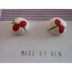 $7.00 Fabric covered button on surgical steel posts d7 by MadebyRen on Handmade Australia