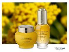 A linha Divine Immortelle combina o óleo da flor de Immortelle.  L'OCCITANE en Provence