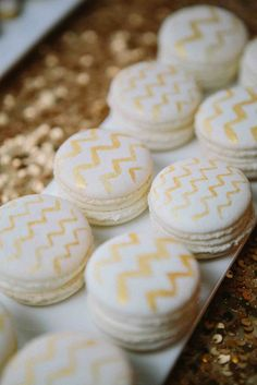 Luna Bakery (lunabakerycafe.com) Chevron French Macarons for Gold & Glam inspiration shoot with Shi Shi Events