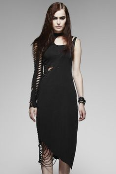 Delirium Gothic Dress by Punk Rave is made from stretch black cotton jersey which is shredded at the hem and waist. It features a slight stone-washed weathered effect.