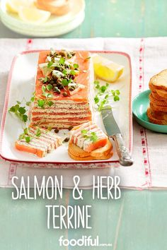 This make-ahead terrine is layered with smoked salmon and a herb and creamy cheese. It makes an impressive centrepiece as well as a delicious party starter. This recipe serves 10 people and takes a bit of time hrs and (finger food appetizers make ahead) Smoked Salmon Terrine, Smoked Salmon Appetizer, Salmon Recipes, Fish Recipes, Seafood Recipes, Entree Recipes, Appetizer Recipes, Cooking Recipes, Entryway