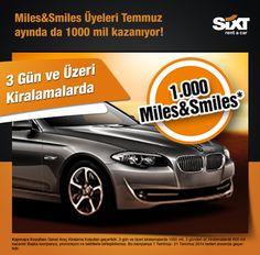 1000 mil kazanmak isteyen Miles&Smiles üyeleri Sixt'ten 3 gün ve üzeri kiralama yapıyor Temmuz ayın da da kazanıyor :) www.sixt.com.tr #sixt #sixtrentacar #rentacar #kiralıkaraç #miles #smiles